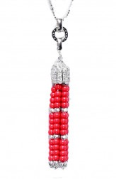 Indian Fashion Designers - LeCalla - Contemporary Indian Designer - Gorgeous Red Tassel Necklace - LEC-AW15-JN121702S30IM1RNP
