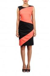 Indian Fashion Designers - Michelle Salins - Contemporary Indian Designer - Orange And Black Panelled Dress - MS-SS16-SHWR-1552-PCHBLK-DR
