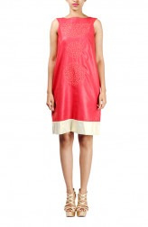 Indian Fashion Designers - Michelle Salins - Contemporary Indian Designer - Trendy Cotton Silk Shift Dress - MS-SS16-SHWR-1563-RDGLD-DR