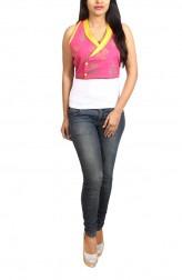 Indian Fashion Designers - Pulpypapaya - Contemporary Indian Designer - Pink Khadi Bolero Jacket - PP-SS16-KHJKMGF5007DEJ
