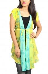 Indian Fashion Designers - Pulpypapaya - Contemporary Indian Designer - Chanderi Silk Wrap Jacket - PP-SS16-KHJKYWF5010IJJ