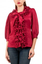 Indian Fashion Designers - Riddhi And Revika - Contemporary Indian Designer - Magenta Pink Ruffled Shirt - RRI-SS16-SHRT-14