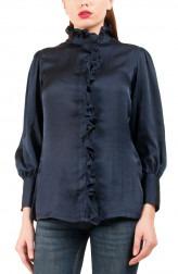 Indian Fashion Designers - Riddhi And Revika - Contemporary Indian Designer - Navy Ballon Sleeved Shirt - RRI-SS16-SHRT-15
