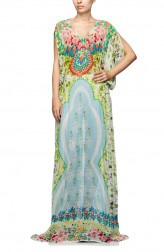 Indian Fashion Designers - Satya Suman - Contemporary Indian Designer - Printed Floral Draped kaftan - SS-NO-SS16-STL35