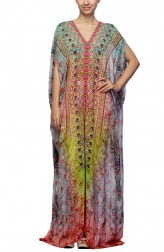 Indian Fashion Designers - Satya Suman - Contemporary Indian Designer - Printed Gota Embroidered Kaftan - SS-NO-SS16-STL49