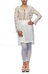 Indian Fashion Designers - Satya Suman - Contemporary Indian Designer - Gold And White Shirt Dress - SS-NO-SS16-STL5