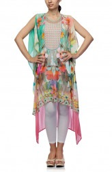 Indian Fashion Designers - Satya Suman - Contemporary Indian Designer - Flowy Floral Printed Kaftan - SS-NO-SS16-STL57