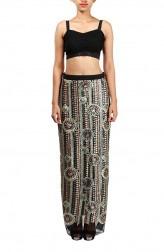 Indian Fashion Designers - Michelle Salins - Contemporary Indian Designer - Sequinned Georgette Maxi Skirt - MS-SS16-SHRM-1655-SEQ-SKT