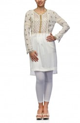 Indian Fashion Designers - Satya Suman - Contemporary Indian Designer - Gold And White Shirt Dress - SS-NO-SS16-STL5