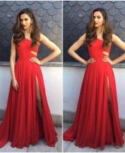 Deepika Padukone Wears Off-Shoulder Red Evening Gown