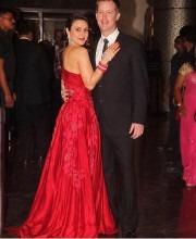 Preity Zinta in a Red Gown by Manish Malhotra